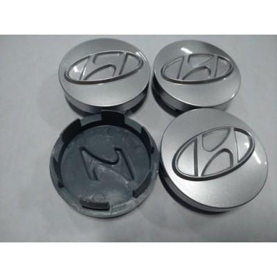 Колпачок в диск HYUNDAI 57/52мм 3D серый старий значок заглушка