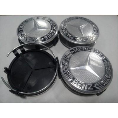Колпачок в диск MERCEDES 75/70мм черный+черное основание заглушка