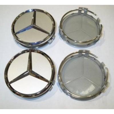 Колпачок в диск Mercedes (металл+пластмас) 75мм cеребрянный+хром заглушка
