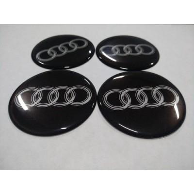 Наклейка на диск AUDI черный 70мм  с логотипом на колпачок колесных дисков