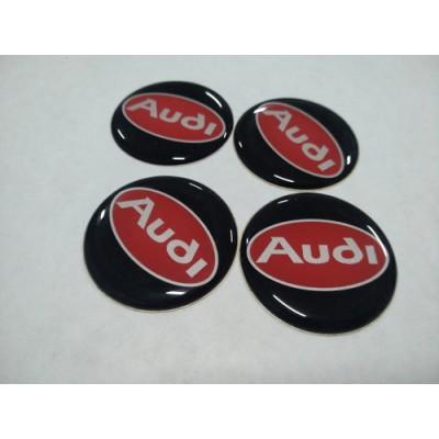 Наклейка на диск AUDI черно-красная 50мм  с логотипом на колпачок колесных дисков