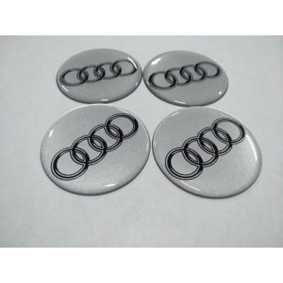 Наклейка на диск AUDI серебряный 60мм  с логотипом на колпачок колесных дисков