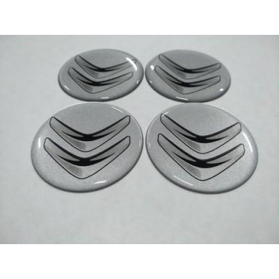 Наклейка на диск CITROEN серебряный 55мм  с логотипом на колпачок колесных дисков