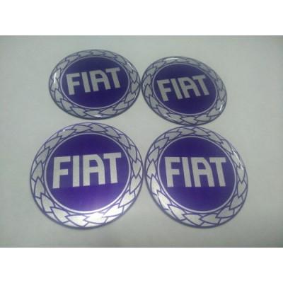 Наклейка на диск FIAT синяя 55мм  с логотипом на колпачок колесных дисков