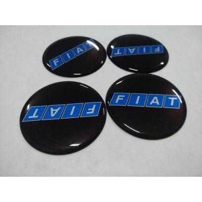 Наклейка на диск FIATчерный, синие буквы 50мм  с логотипом на колпачок колесных дисков