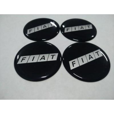 Наклейка на диск FIATчерный, серебрянныe буквы 60мм  с логотипом на колпачок колесных дисков