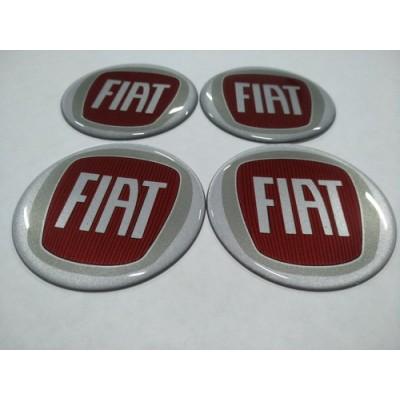 Наклейка на диск FIAT красная 65мм  с логотипом на колпачок колесных дисков