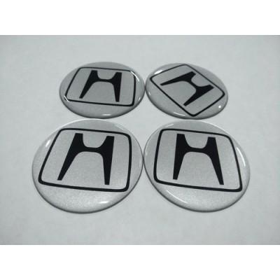 Наклейка на диск HONDA серебряный 60мм  с логотипом на колпачок колесных дисков