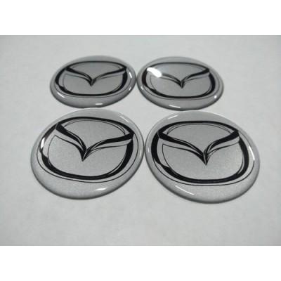 Наклейка на диск MAZDA серебряный 65мм  с логотипом на колпачок колесных дисков