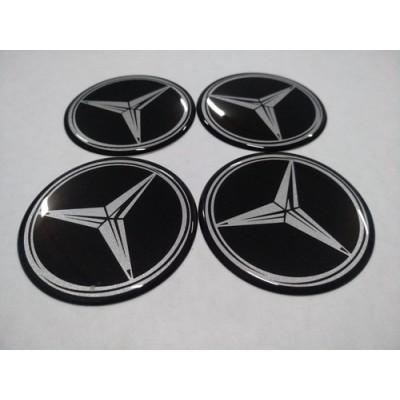 Наклейка на диск MERCEDES черный 65мм  с логотипом на колпачок колесных дисков