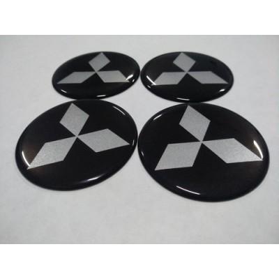 Наклейка на диск MITSUBISHI черный 65мм  с логотипом на колпачок колесных дисков