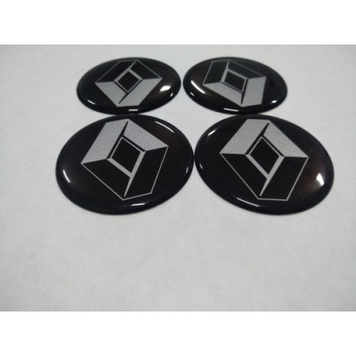 Наклейка на диск RENAULT черный 70мм  с логотипом на колпачок колесных дисков