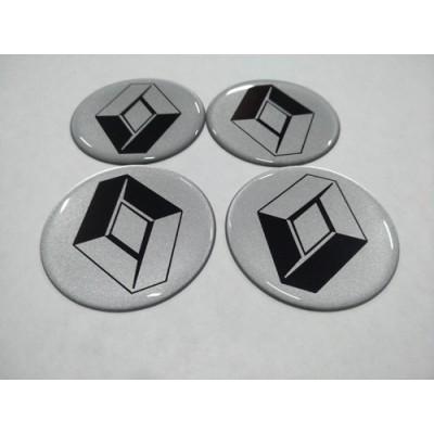 Наклейка на диск RENAULT серебряный 55мм  с логотипом на колпачок колесных дисков
