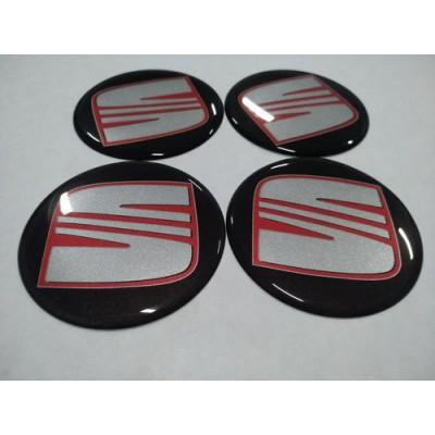 Наклейка на диск SEAT черный+красный 70мм  с логотипом на колпачок колесных дисков