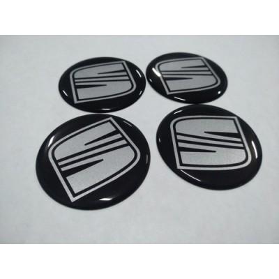 Наклейка на диск SEAT черный+серебро 50мм  с логотипом на колпачок колесных дисков