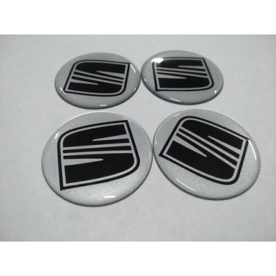 Наклейка на диск SEAT серебро+черный 55мм  с логотипом на колпачок колесных дисков