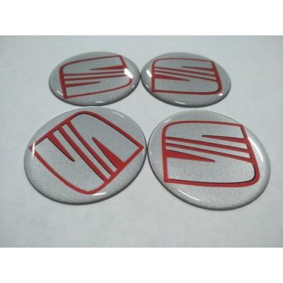 Наклейка на диск SEAT серебо+красный 50мм  с логотипом на колпачок колесных дисков