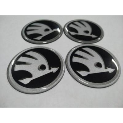 Наклейка на диск SKODA черный 60мм  с логотипом на колпачок колесных дисков