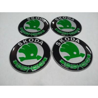 Наклейка на диск SKODA зелена 60мм  с логотипом на колпачок колесных дисков
