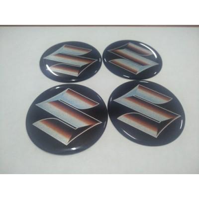 Наклейка на диск SUZUKI черный+колор 45мм  с логотипом на колпачок колесных дисков