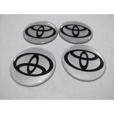 Наклейка на диск TOYOTA серебряный 55мм  с логотипом на колпачок колесных дисков