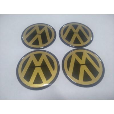 Наклейка на диск VW золотой 65мм  с логотипом на колпачок колесных дисков