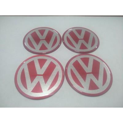 Наклейка на диск VW красная 65мм  с логотипом на колпачок колесных дисков
