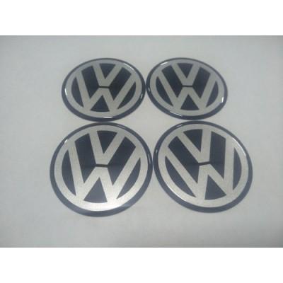 Наклейка на диск VW черный 60мм  с логотипом на колпачок колесных дисков