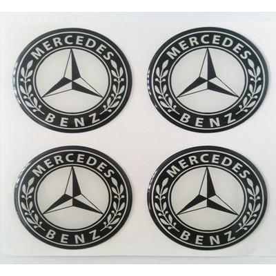 Наклейка на диск Mercedes D60 мм cиликон (Белый логотип на черном фоне) с логотипом на колпачок колесных дисков
