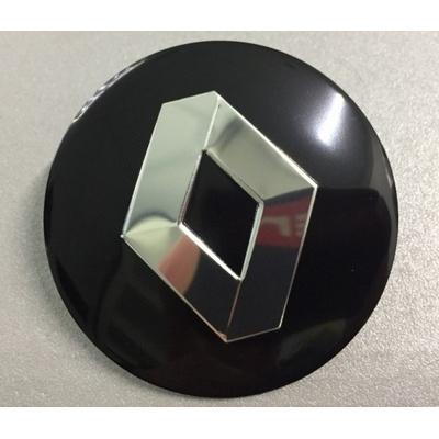 Наклейка на диск Renault D56 алюминий (Серебристый логотип на черном фоне) с логотипом на колпачок колесных дисков