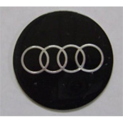 Наклейка на диск Audi 56 плоский черный с логотипом на колпачок колесных дисков