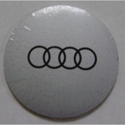 Наклейка на диск Audi 47 выпуклый серый с логотипом на колпачок колесных дисков