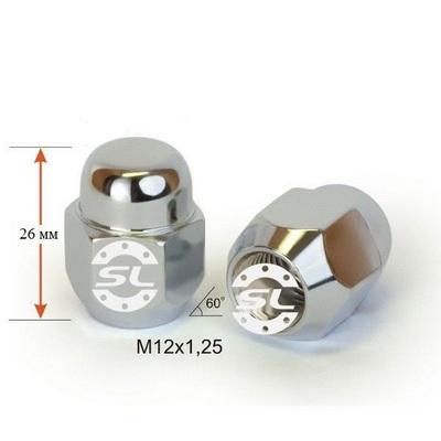 колесные Гайки 12х1,25 L26 Конус 21 ключ Хром крепления для колесных дисков