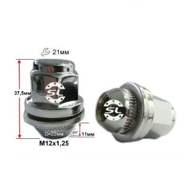 колесные Гайки 12х1,25 L37,5 Прессшайба D-22 Ключ 21 Хром (Nissan, Infiniti) крепления для колесных дисков
