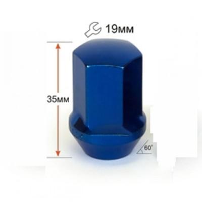 колесные Гайки 12х1,25 L35мм 19 ключ синий хром крепления для колесных дисков