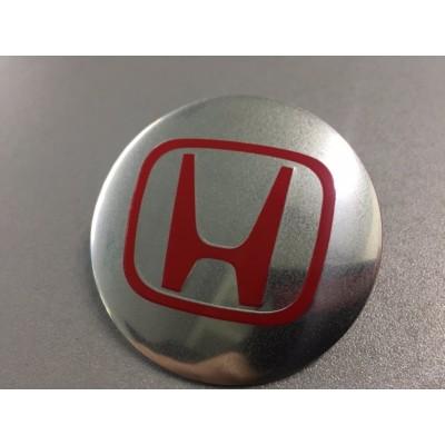 Наклейка на диск Honda D56 аллюминий (красный логотип на серебристом фоне) с логотипом на колпачок колесных дисков
