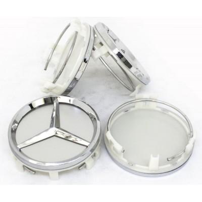 Колпачки на диски Mercedes (61/58) Серебро заглушка
