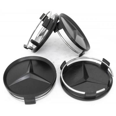 Колпачки на диски Mercedes (75/70) чёрный матовый заглушка