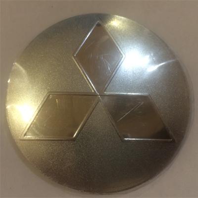 Наклейка на диск Mitsubishi 58 выпуклый серый зеркальный знак с логотипом на колпачок колесных дисков