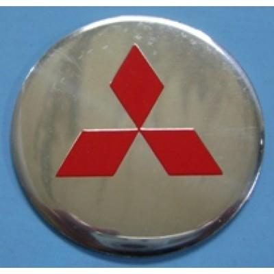 Наклейка на диск Mitsubishi 56 плоский красный с логотипом на колпачок колесных дисков