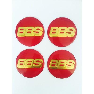 Наклейка на диск BBS D56 алюминий (Золотой логотип на красном фоне) с логотипом на колпачок колесных дисков