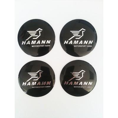 Наклейка на диск Hamann D56 мм (Хромированный логотип на черном фоне) с логотипом на колпачок колесных дисков