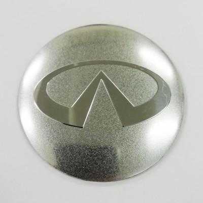 Наклейка на диск Infiniti D56 мм (Хромированный логотип на серебристом фоне) с логотипом на колпачок колесных дисков