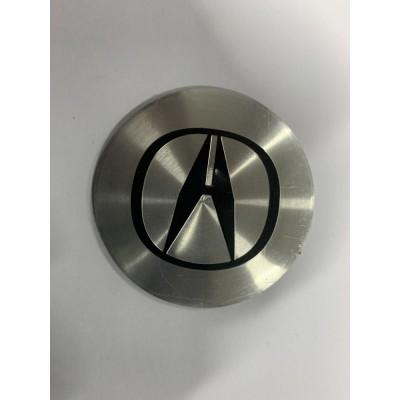 Наклейки Acura D56 алюминий (Черный логотип на хромированном фоне) с логотипом на колпачок колесных дисков