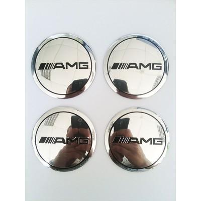 Наклейки AMG D56 мм (Черный логотип на хромированном фоне) с логотипом на колпачок колесных дисков