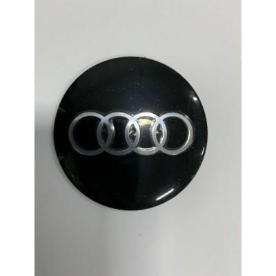 Наклейки Audi D56 алюминий (Серебристый логотип на черном фоне) с логотипом на колпачок колесных дисков