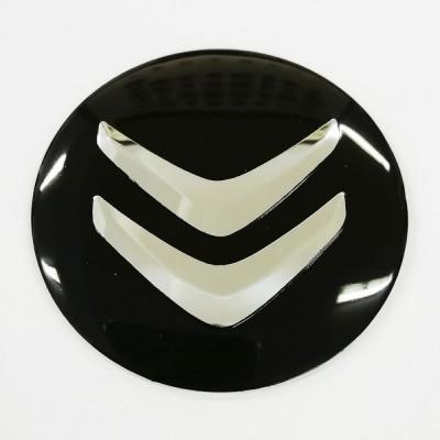 Наклейки Citroen D56 алюминий (Хромированный логотип на черном фоне) с логотипом на колпачок колесных дисков