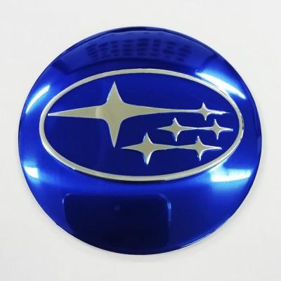 Наклейки Subaru D56 алюминий (Хромированный логотип на синем фоне) с логотипом на колпачок колесных дисков