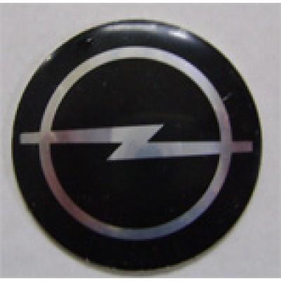 Наклейка на диск Opel 56  выпуклый (Серебоистый логотип на черном фоне)  с логотипом на колпачок колесных дисков