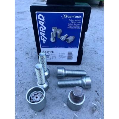 Секретные Болты 14х1,5 L45 Сфера R14 Farad Starlock 1-SZ5M/E (2 ключа) на колеса секретки для дисков